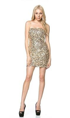 New stretchy Hot Sequin Strapless Bodycon Mini Dress Gold Sexy cute popular