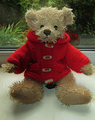 BN TEDDY CLOTHES, HAND KNITTED HOODED DUFFLE COAT TO FIT 11 INCH BEAR