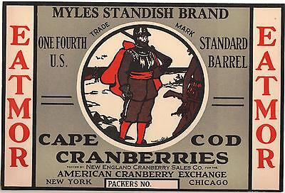 *Original* MYLES STANDISH New Jersey PLYMOUTH Cranberry Label NOT A COPY!!