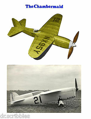 """SCALE FREEFLIGNT 22"""" Chambermaid RUBBER POWER MODEL AIRPLANE PLANS & Article"""