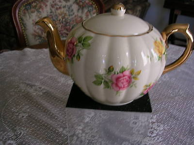 VINTAGE GIBSONS PINK AND YELLOW ROSES HEAVY GOLD TRIM TEA POT MARKED