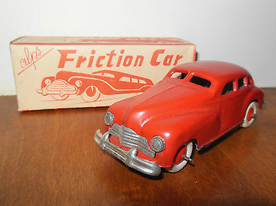 Vintage 1940's Red Friction Car by Alps w/ Original Box Made in Occupied Japan