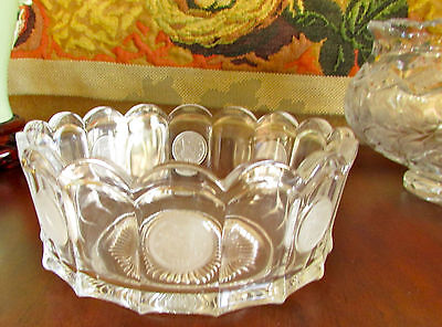 Vintage Fostoria Clear Round Large Coin Bowl Scalloped Edges
