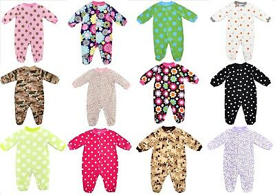 Baby Boy/girl Fleece Sleepsuit/babygrow Various Designs Nb 0-3 3-6 6-9Mths
