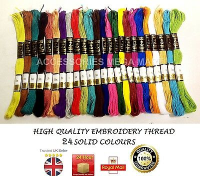 24 Anchor Cotton embroidery sewing Thread stitch Floss solid fast basic colours