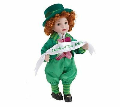 """St Patrick's Day Keepsake 10"""" Standing Porcelain Doll by Marie 2009 MINT IN BOX"""