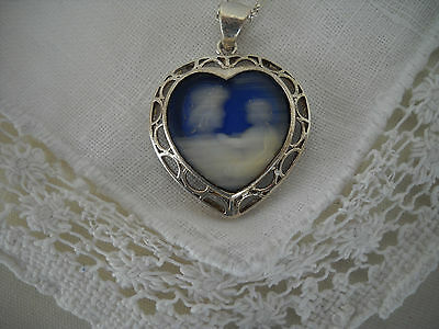 Vintage Sterling Silver Mother and Child Blue Cameo Heart Pendant w/ Chain