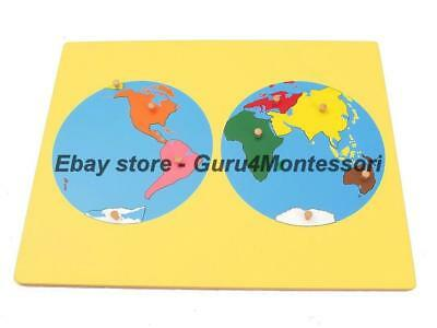 NEW Montessori Geography-World Puzzle Map with Beechwood Frame