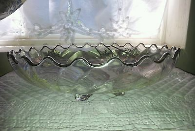 Silver overlay on Glass Vintage Large Footed Serving Bowl with Poppies Design