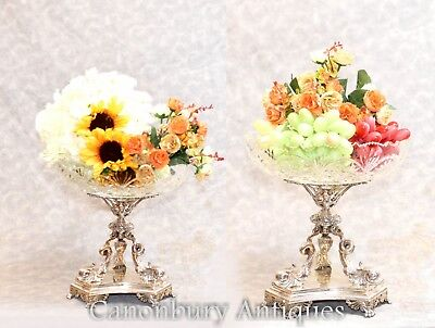 Pair Elkington Victorian Silver Plate Sweet Dishes Epergene Tureens Bowls Serpen