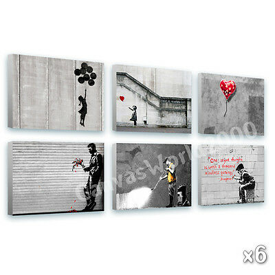 LARGE Canvas Banksy Set of 6 Graffiti 16x12 inch repro photos poster GICLEE art