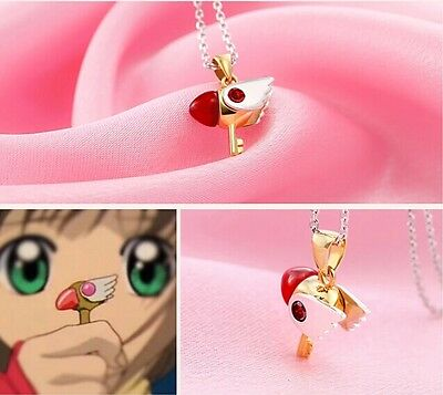 Card Captor Sakura Kinomoto Star Wand Key Necklace 925 Silver Pendant Black C