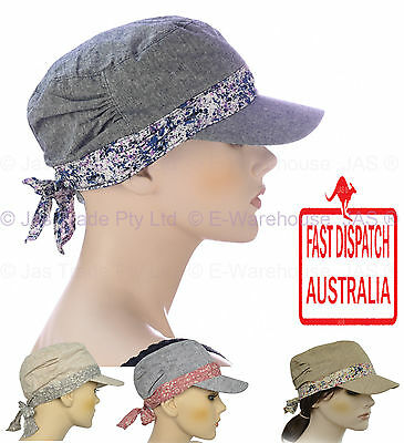 Girl Ladies Woman Full Cotton Chemo Visor Wrap Soft Lining  Hat Army Cap S SMALL