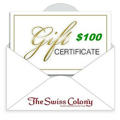 The Swiss Colony $100 Gift Certificate ~ Free Shipping