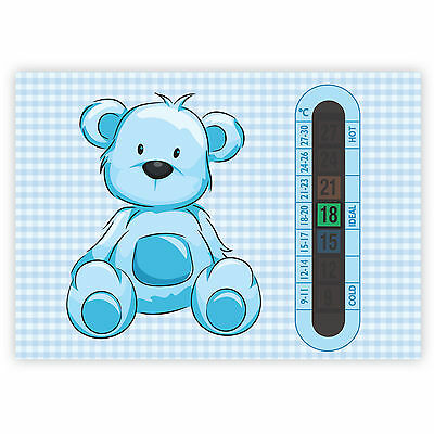 A6 Nursery, Baby and Childrens Blue Teddy Bear Room Thermometers