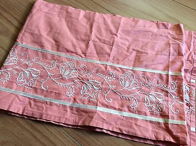 1 Flat Panel Salmon Coral Peach Off White Embroidery Curtain Valance Window