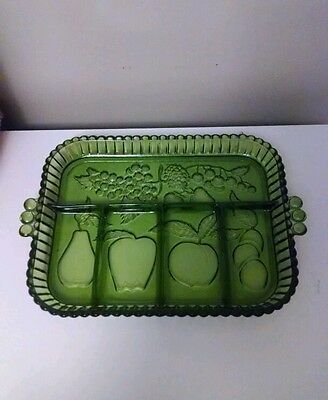Indiana Glass Avocado Green Relish Dish/Tray With Dividers ,Handles, has fruit