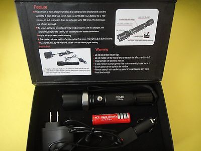 800 LM 3W LED rechargable Torch Zoomable flashlight 18650+ 2X charges FFF6
