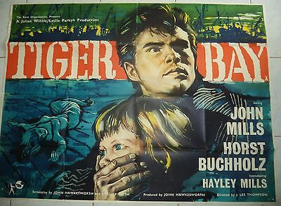 TIGER BAY 1959 RARE UK QUAD POSTER 30x40 HAYLEY MILLS / BRIAN BYSOUTH ART