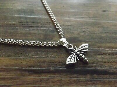 """10 Silver Plated 18"""" Necklaces with Bee Pendants Wholesale Jewellery Job Lot"""