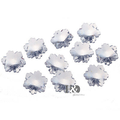 10 Clear Snowflake Crystal Beads Chandelier Lamp Prisms Suncatcher Pendants 30mm