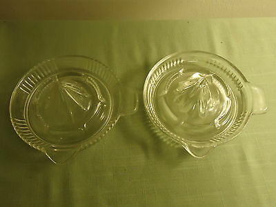 2 Old Clear Glass Reamers Lot