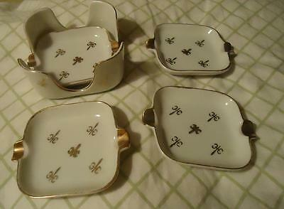 Set of 4 square ceramic personal ashtrays  tiny dishes by Lefton Japan YB2124