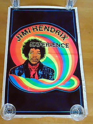 JIMI HENDRIX EXPERIENCE Vintage BLACK LIGHT POSTER 1988 Psychedelic