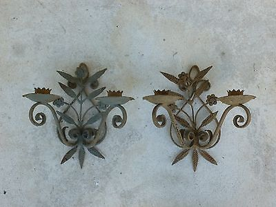 Pair Of Hand Forged 1920's Floral Wrought Iron Sconces