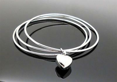 316L Fashion 3 Bangle & Silver Heart Cremation Memorial Keepsake Urn Bracelet