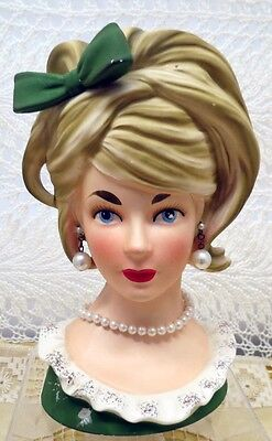 """Relpo Lady Planter Head 7 1/2"""" Vase #K-1612 In Green With Bow And Faux Pearls"""
