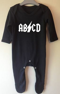 Abcd Acdc Inspired Rock Band Retro Onesie Baby Grow Gro Sleepsuit Girl Boy