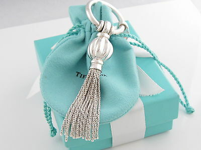 Tiffany & Co Silver Tassel Long Dangle Charm Pendant For Necklace Pouch Box