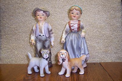 Two Narco Figurines Young Girl & Boy Walking Their Dogs Very Cute Great Shape