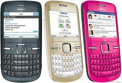 Nokia C Series C3-00 (Unlocked) Cellular Phone - Slate Grey/Golden White/Pink