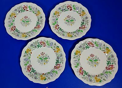 """ROYAL DOULTON STRATFORD D6196 FLORAL,FOUR DINNER PLATES 10 1/2"""" ACROSS EXC COND."""
