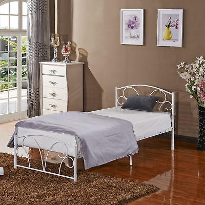 Brand New Stylish Sturdy Metal Bed Frame 3FT Single for Adult Children White