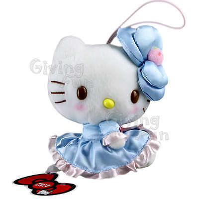 "GENUINE SANRIO PRIZE Hello Kitty 5"" Light Blue Dress Soft Plush Doll /w Strap JP"