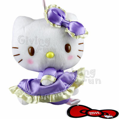 "GENUINE SANRIO PRIZE Hello Kitty 5"" Grand Purple Dress Soft Plush Doll w/ Strap"