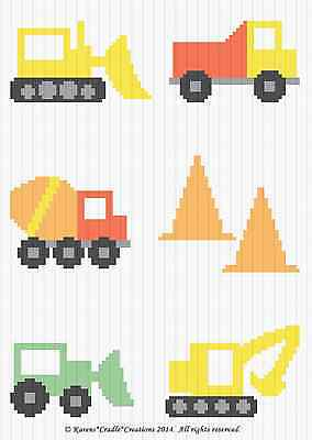 Crochet Patterns - CONSTRUCTION VEHICLES  Baby SCRAP YARN Afghan Pattern *EASY*