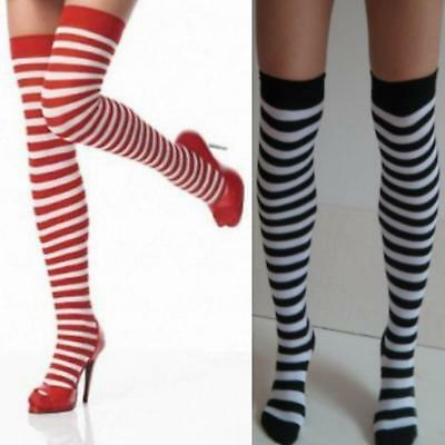 Womens Striped Over Knee Socks Stockings  Red or Black