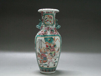 """China Famille Rose porcelain Vase Draw """"Ancient Chinese soldiers"""" Xianfeng mark"""