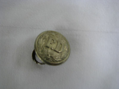 """Older  Collectable F. D. Fire Department Silver Metal  Shank Button 1"""" Across"""