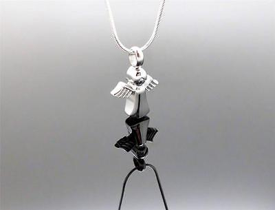 316L Stainless Silver Winged Angel Memorial Cremation Urn Pendant Jewellery NIB