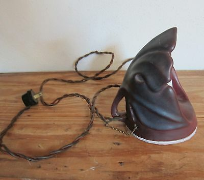 Rare Early Van Briggle Mulberry Pottery Leaf Desk Lamp