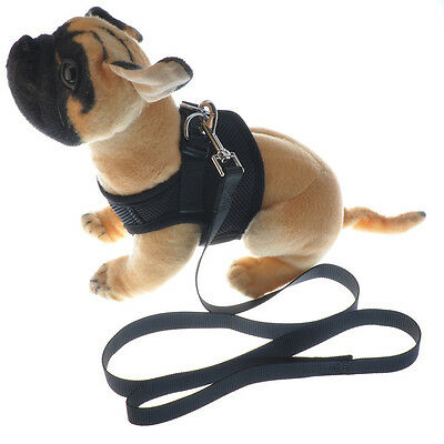 Puppy Dog Pet Cat Harness Vest Mesh S M L and Leash Collar Warm Jacket Black US