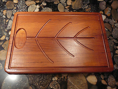 SOLID TEAK JUST UNDER 4 LBS WOOD FISH SERVING TRAY BOARD SUSHI SALMON