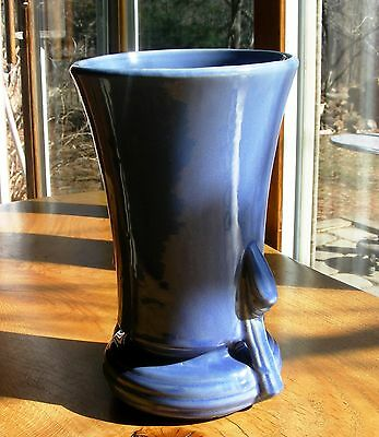 "ONE vintage 9"" tall blue vase with draped handles.1940 Nelson McCoy , USA"