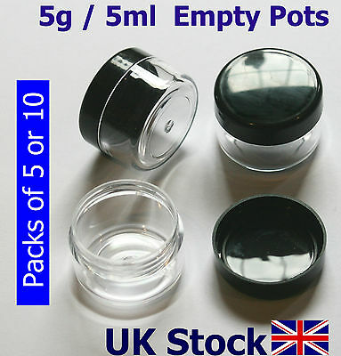 5g / 5ml Empty Plastic Pots, Jars, Clear Containers - UK Stock