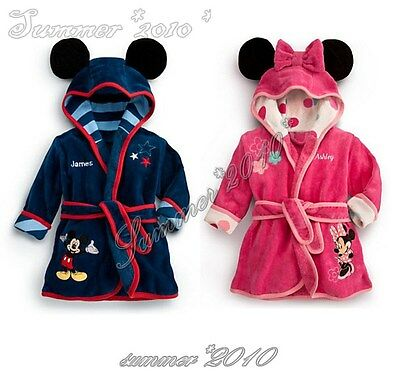 Baby Kids Toddler Minnie Mouse&Micky Hooded Bathrobe Pajamas Clothes New 0-4Y